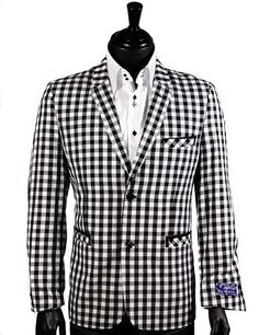 Blue Martini Black and White Gingham Check Pattern Blazer