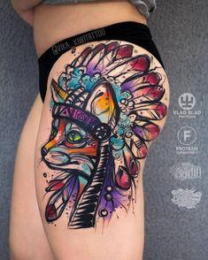 Native American Fox Tattoo by vika_kiwitattoo