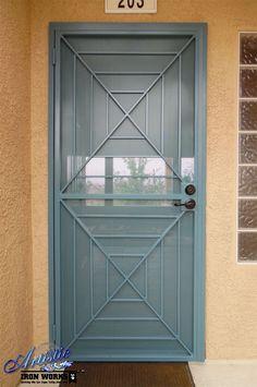 Wrought iron security screen door - powder coated
