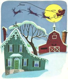 Christmas in the Country Barbara Collyer and John R. Foley pictures by Retta Worcester ~ Simon and Schuster, 1950 An early Little Golden. Christmas Graphics, Noel Christmas, Retro Christmas, Country Christmas, Winter Christmas, Christmas Balls, Christmas Stuff, Christmas Decor, Christmas Ideas