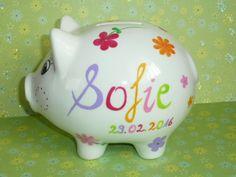 Geldgeschenke - Sparschwein XL Nr. 36 Blümchen  - ein Designerstück von MM-Bastelparadies bei DaWanda Piggy Bank, Etsy, Save My Money, Wrapping Gifts, Birth Flowers, Deco, Money Box, Money Bank, Savings Jar