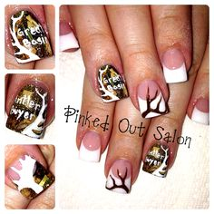 Real camo nails!!!  Real grass, twigs, leaves and bark. Check out Pinked Out Salon on FB!