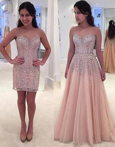 Unique removable long prom dress,crystal sleeveless formal dress prom gowns,HS004 #fashion#promdress#eveningdress#promgowns#cocktaildress
