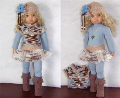 """SWEATER,HAT,SKIRT,NECKLACE&BOOTS SET MADE FOR KIDZ N CATS&SIMILAR SIZE 18""""DOLL"""