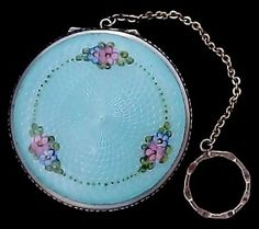 Sterling & Guilloche Enamel Floral Design Compact with Finger Ring or Chatelaine c. 1920s