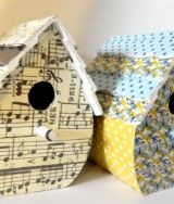 Birdhouse with Washi tape. Or try fabric bits or scrapbook paper.  If it's hollow bottomed put a tealight inside.