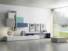 sectional storage wall by De Rosso, sectional laminate storage wall, Dr•øne collection