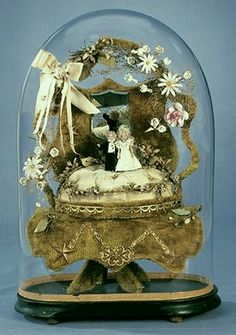 French Globe de Mariee with Tiny Bisque Bride and Groom - circa 1900.