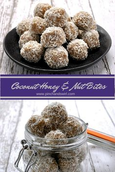 Coconut Honey and Nut Bites - the perfect answer to afternoon sweet cravings! No cooking required! www.pinchandswirl.com #paleo #vegetarian