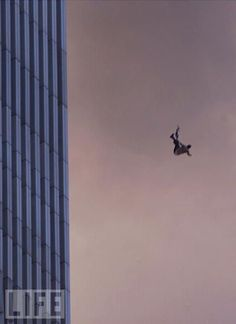 9/11/01 a jumper from one of the Twin Towers in NYC.  Bless their heart.