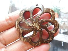 Items similar to 4 Pcs hollow flower natural Coconut circle on Etsy Leaf Crafts, Resin Crafts, Wood Earrings, Pendant Earrings, Wood Crafts That Sell, Coconut Shell Crafts, Wooden Spoon Carving, Feather Art, Shell Art