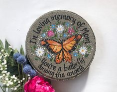 Butterfly Gifts, Blue Butterfly, Painted Stepping Stones, Personalized Memorial Gifts, Memorial Garden Stones, Retirement Gifts For Women, Bereavement Gift, In Memory Of Dad, Wedding Ornament