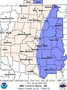 """says For Little Rock & Central Arkansas: Winter Storm Warning Til Noon Friday. Rain Sleet & Freezing Rain..Changing To Snow. Snow Could Be Heavy At Times. Little Or No Ice Accumulation. General 1-3 Inch Snow & Sleet Accumulations With 3-5 Inches Possible In Spots. Lo 30. Friday: Scattered Early AM Snow Showers Tapering By 9AM Then Gradual Clearing. < 1"""" Additional Accumulation. Hi 37. Friday Night Thru Sunday: Partly Cloudy. Lo's Near 25. Hi Saturday 39. Hi Sunday 47. Updates…"""