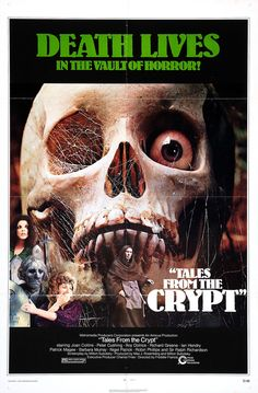 "Movie Poster for the portmanteau horror film ""Tales from the Crypt"" (1972), directed by Freddie Francis and starring Peter Cushing and Joan Collins"