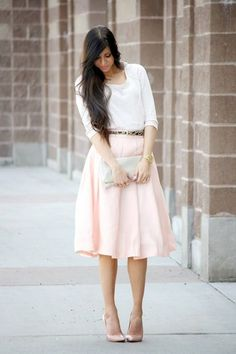 Chicwish Tender Pink Pleated A-Line Full Skirt