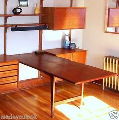 Modern CADO teak TABLE danish Mid Century FREE DEL nyc bos DESK Wall unit