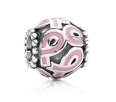 Pandora Silver and Pink Enamel Breast Cancer Awareness Charm 790755EN24 at John Greed Jewellery