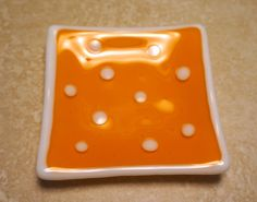 Fused Glass Soap Dish Tangerine Polka Dot3.75 by DogwoodHillGlass