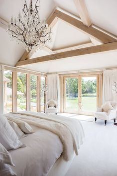 Light filled contemporary bedroom decorated in a neutral colour scheme of soft w. : Light filled contemporary bedroom decorated in a neutral colour scheme of soft whites and off-whites. Floor to ceiling windows and cathedral ceiling Home Bedroom, Bedroom Decor, Floor To Ceiling Windows, Contemporary Bedroom, Contemporary Windows, My New Room, Beautiful Bedrooms, Design Case, Interior Design Living Room