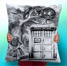 Alice In Wonderland Dr - Doctor Who Tardis - Cushion / Pillow Cover / Panel / Fabric on Etsy, $8.44
