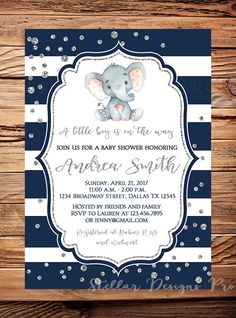 Elephant Baby Shower Invitation boy girl baby by StellarDesignsPro