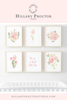 Nursery wall art for the little girl nurseries. Floral nursery wall decor for little girls room. Watercolor nursery art for the home and nurseries. Nursery decor and inspiration.