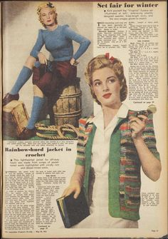 Issue: 20 May 1944 - The Australian Women's Wee. Knitting Patterns Free, Knit Patterns, Vintage Patterns, Vintage Designs, Vintage Knitting, Vintage Crochet, Vintage Wardrobe, Vintage Outfits, 1940s Fashion