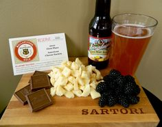 """We're hooked on our BellaVitano Gold cheese, 2010 First Place American Cheese Society Winner! Pair this creamy, fruity, tangy """"one of a kind"""" cheese with some milk chocolate, blackberries, and a Jacob Leinenkugel Brewing Co. Lemon Berry Shandy!"""