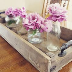 Rustic Serving Tray Centerpiece by HarvestTrailJourney on Etsy