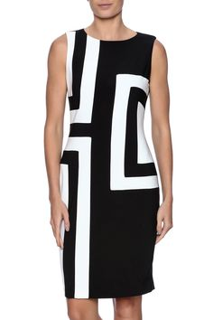 Beautiful black and white colorblock dress perfect for a party or with a blazer for work!   Colorblock Dress by Joseph Ribkoff. Clothing - Dresses - Work Clothing - Dresses - Knee Michigan
