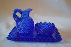Vintage Cobalt Blue Glass ThreePiece Set by Sunpennies on Etsy, $20.00