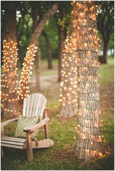 Outdoor DIY Lighting ideas. Step-by-step photo tutorials on how to easily create and make the lights for your own backyard. Set up some lanterns by the chair or hang them from the trees for added charm.