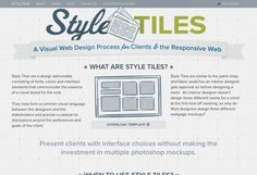 Style Tiles (A visual web design process for clients and the responsive web) Web Design Tools, Tool Design, Design Process, Wireframe, Best Dating Apps, Web Project, Responsive Web Design, Website Layout, Style Tile