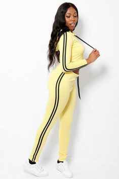 Yellow Crop Top Tracksuit Lounge Sets Joggers Hoody Side Stripe Leisure UK 8 10  #Unbranded Yellow Crop Top, Hoody, Joggers, Lounge, Crop Tops, Retro, Dresses, Fashion, Airport Lounge