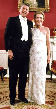 Nancy and Ronald Reagan before inauguration ball, 1981