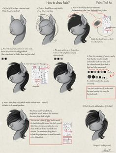 How to draw hair? RUS by Yakovlev-vad on DeviantArt My Little Pony Hair, My Little Pony Drawing, Digital Painting Tutorials, Art Tutorials, Drawing Tips, Drawing Sketches, Scary Creepypasta, Little Poney, Human Drawing