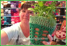 Posh Pooch Designs Dog Clothes: How to Make Polymer Clay Plant Stakes And A Plant Pot Crochet Cozy Crochet Planter Cover, Crochet Plant Hanger, Crochet Hooks, Crochet Cozy, Free Crochet, Hanging Flower Pots, Yarn Needle, Double Crochet, Crochet Flowers