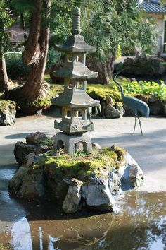 Japanese garden fountain