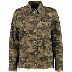 Boohoo Ripley Fray Hem Camo Denim Jacket (370 DKK) via Polyvore featuring outerwear, jackets, camo jean jacket, duster coat, camo denim jacket, puffy jacket and jean jacket