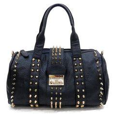 Studded Handbags Spiked Purses Reble Fashion Bags - Black