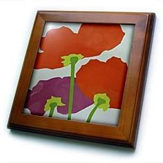 "3 Red n Fuchsia Poppies - 8x8 Framed Tile by Florene. $22.99. Solid wood frame. Dimensions: 8"" H x 8"" W x 1/2"" D. Keyhole in the back of frame allows for easy hanging.. Cherry Finish. Inset high gloss 6"" x 6"" ceramic tile.. 3 Red n Fuchsia Poppies Framed Tile is 8"" x 8"" with a 6"" x 6"" high gloss inset ceramic tile, surrounded by a solid wood frame with predrilled keyhole for easy wall mounting.. Save 15% Off!"