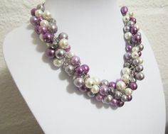 Purple and Ivory Pearl Bridesmaid Necklace Wedding by SLDesignsHBJ
