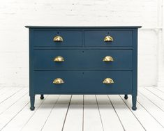 """Excited to share the latest addition to my shop: Beautiful hand painted vintage chest of drawers. Painted in Farrow and Ball """"Hague Blue"""" and waxed. Blue Chest Of Drawers, Vintage Chest Of Drawers, Blue Chests, Small Drawers, Painted Cupboards, Painted Drawers, Painted Chest, Hand Painted, Vintage Furniture For Sale"""