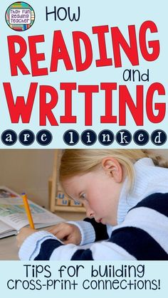 reading and writing are linked – tips for building cross-print connections Lesson I really needed to learn in my Reading Recovery training year - and did! Reading and writing are two sides of the same coin. Reading Resources, Reading Strategies, Reading Activities, Reading Skills, Reading Comprehension, Classroom Resources, Classroom Ideas, Writing Lessons, Teaching Writing