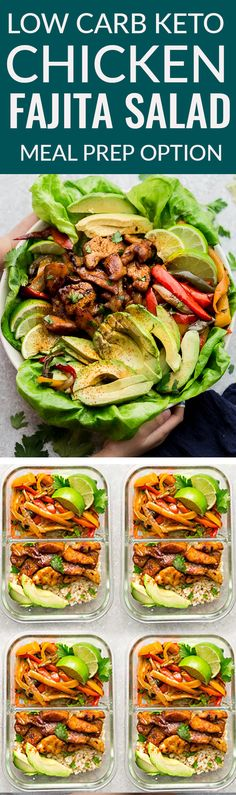 Low Carb Chicken Fajita Salad – a quick, simple and healthy lunch or dinner made with tender and juicy chicken, bell peppers and a flavorful cilantro chili lime vinaigrette. Best of all, all the flavors you love about chicken fajitas in just 30 minutes and perfect for busy weeknights. #keto #lowcarb #salad #fajitas #salad #mexican #chicken #avocado