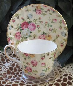 Heirloom Antique Rose Chintz Bone China Tea Cup & Saucer