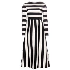 Valentino Striped Wool and Silk-Blend Dress (€3.805) ❤ liked on Polyvore featuring dresses, valentino, black, black stripe dress, black wool dress, valentino dresses, black dress and wool dress