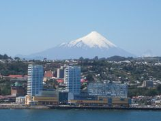 Modern day Puerto Montt, with the Osorno Volcano in the background. Southern Chile