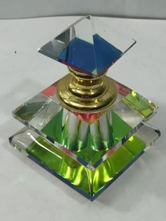 Vintage ART Deco Prism Rainbow Glass Perfume Bottle Screw TOP Clear Glass | eBay by Terese Vernita