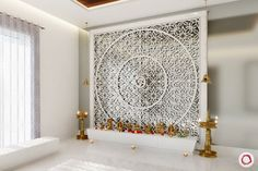 Want your mandir to look unique? Whether you're looking for a traditional or a modern mandir design, we have 13 unique designs to pick from. Temple Design For Home, Home Temple, Mandir Design, Meditation Room Decor, Pooja Room Door Design, Puja Room, Indian Homes, Lattice Design, Prayer Room